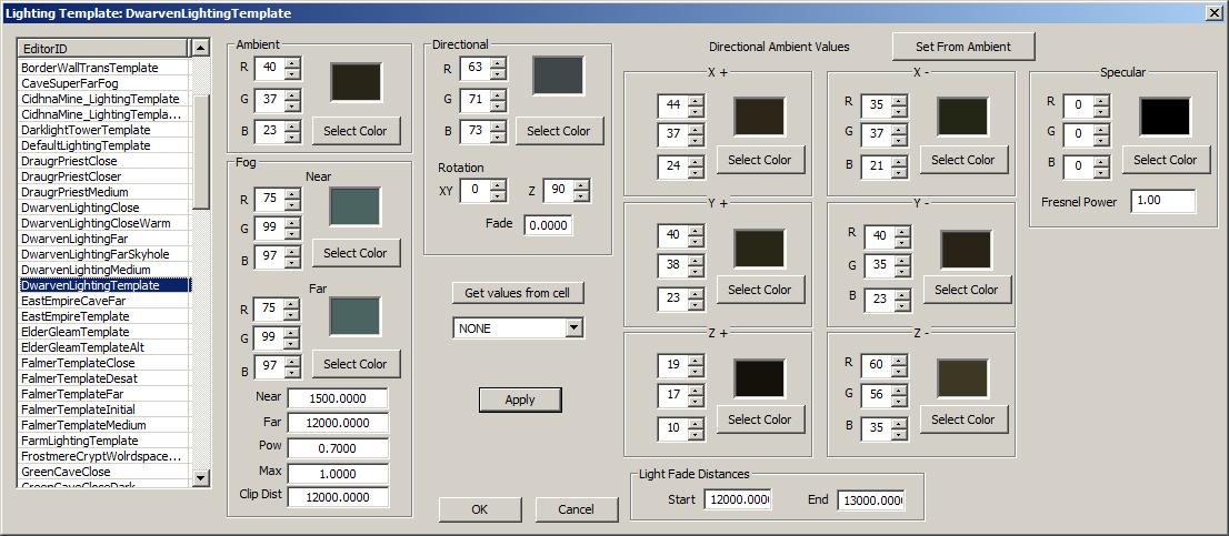 lighting template creation kit